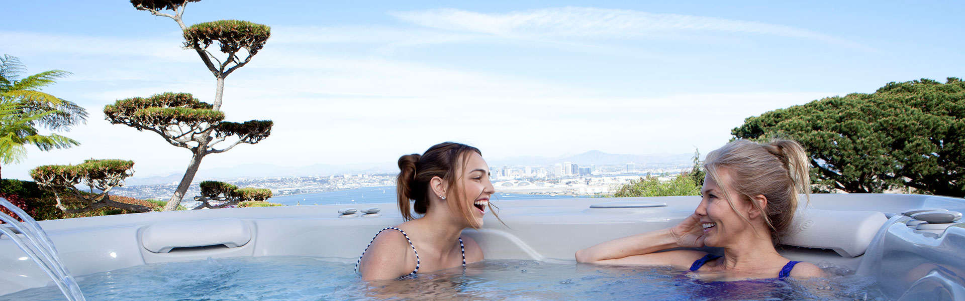 Spa Accessories Aspot Women Smiling Hot Tub City View