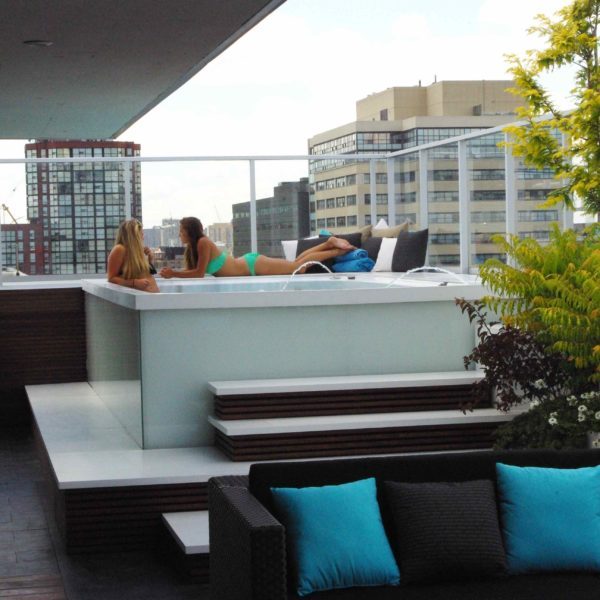 Hydropool Swim Spa Patio Balcony City View Women