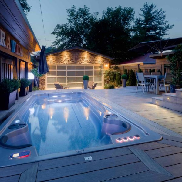 Hydropool Swim Spa 17 Ft Sunk In Ground Deck Patio Night Shot